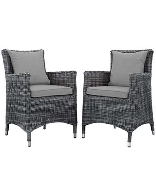 Summon Collection EEI-2313-GRY-GRY-SET Set of 2 Outdoor Patio Dining Chairs with Sunbrella Fabric Upholstery Synthetic Rattan Weave and Powder