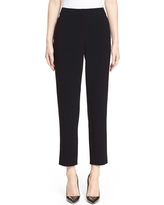 St. John Collection Emma Crop Crepe Marocain Pants, Size 0 in Caviar at Nordstrom