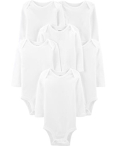 Child of Mine By Carter's Baby Boy or Girl Gender Neutral White Long Sleeve Bodysuits, 6-Pack