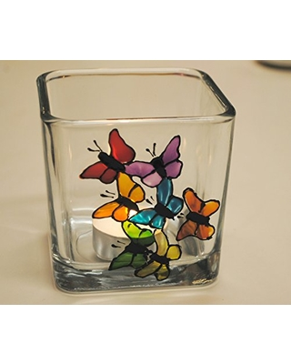 Rainbow Butterflies Multi Color Hand Painted Stained Glass Square Candle Holder Home Decor