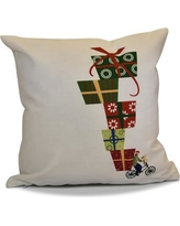 """The Holiday Aisle Christmas Presents Print Outdoor Throw Pillow THLA6875 Size: 20"""" H x 20"""" W, Color: White"""