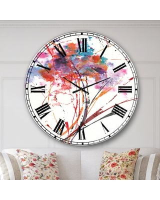 Oversized Abstract Handpainted Flowers Metal Wall Clock East Urban Home Size: Large