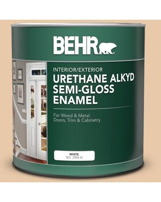 BEHR 1 qt. #S250-2 Almond Biscuit Semi-Gloss Enamel Urethane Alkyd Interior/Exterior Paint