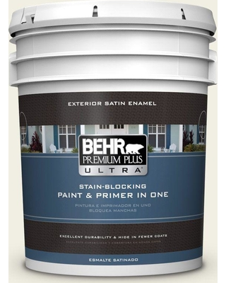 BEHR Premium Plus Ultra 5 gal. #PPU10-13 Snowy Pine Satin Enamel Exterior Paint and Primer in One