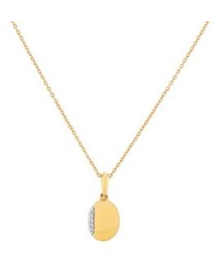 Belk & Co. Gold 1/10 ct. t.w. Diamond Oval Pendant Necklace in 10K Yellow Gold