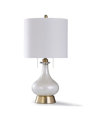 Steel and Glass Table Lamp - Clear Seeded Glass with Antique Brass Metal