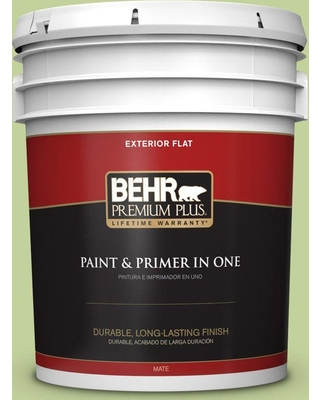 Don T Miss Sales On Behr Premium Plus 5 Gal P370 4 Cricket Field Flat Exterior Paint And Primer In One