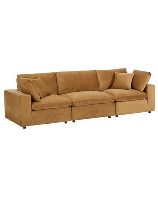 Commix Collection EEI-4817-COG Down Filled Overstuffed Performance Velvet 3-Seater Sofa in Cognac