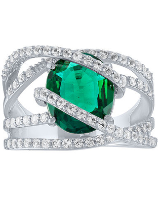 Lab-Created Emerald & Lab-Created White Sapphire Sterling Silver Cocktail Ring, 7