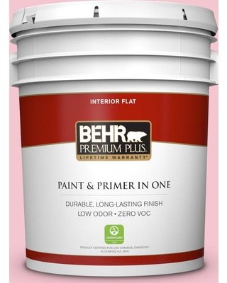 BEHR Premium Plus 5 gal. #120B-4 Old Fashioned Pink Flat Low Odor Interior Paint and Primer in One
