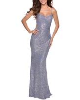 La Femme Strappy Back Sequin Gown, Size 4 in Blue/multi at Nordstrom