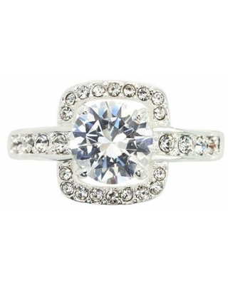 Sparkle Allure Cubic Zirconia Pure Silver Over Brass Cocktail Ring, 9