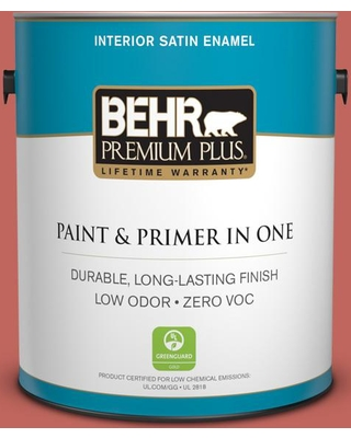 BEHR Premium Plus 1 gal. Home Decorators Collection #hdc-CL-10 Tapestry Red Satin Enamel Low Odor Interior Paint & Primer, Reds/Pinks