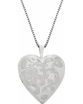 Sterling Silver Floral Engraved Locket Necklace, Women's