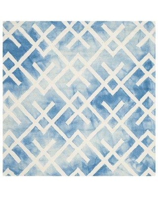 Bungalow Rose Castries Hand-Tufted Wool/Cotton Blue/Ivory Area Rug BNGL2087 Rug Size: Square 5'