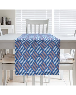 Two Color Stripe Diamonds Table Runner (16 x 72 - Polyester - Blue & Orange)