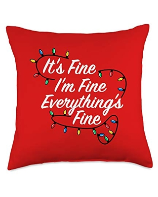 Detour Shirts Everything's Fine Christmas Gift Saying Throw Pillow, 18x18, Multicolor