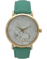 Olivia Pratt Women's Mother of Pearl Elephant Outline Leather Watch One Size (Pink)