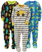 Simple Joys by Carter's Baby Boys' 3-Pack Snug-Fit Footed Cotton Pajamas, Monsters/Dino/Construction, 4T