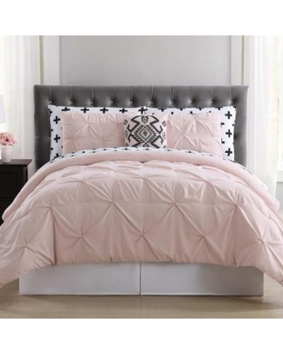 Truly Soft Pueblo Pleated Comforter Bedding Set, Light Pink, Twin XL