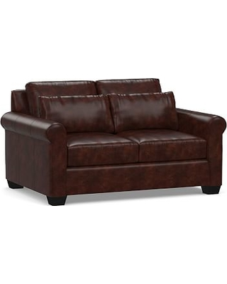"""York Deep Seat Roll Arm Leather Loveseat 63"""", Polyester Wrapped Cushions, Legacy Tobacco"""