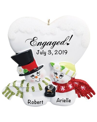 Engaged Snow Couple Hanging Figurine Ornament