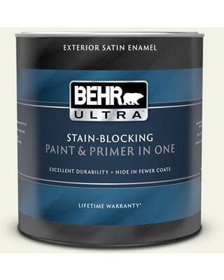 BEHR ULTRA 1 qt. #PPL-57 White Smoke Satin Enamel Exterior Paint and Primer in One