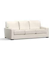 "Turner Square Arm Upholstered Sofa 84"" without Nailheads, Down Blend Wrapped Cushions, Denim Warm White"
