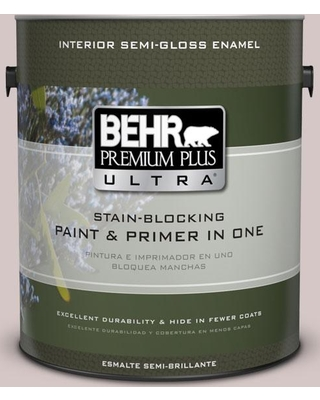 BEHR Premium Plus Ultra 1 gal. #730A-3 Lilac Tan Semi-Gloss Enamel Interior Paint and Primer in One, Purples/Lavenders