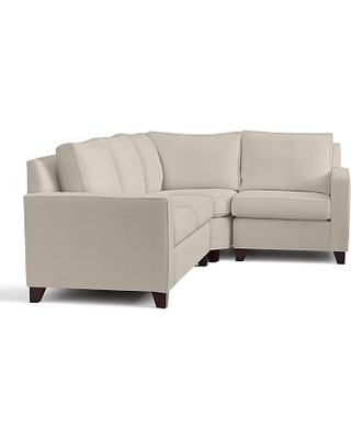 Cameron Square Arm Upholstered Left Arm 3-Piece Wedge Sectional, Polyester Wrapped Cushions, Performance Everydaylinen(TM) by Crypton(R) Home Oatmeal