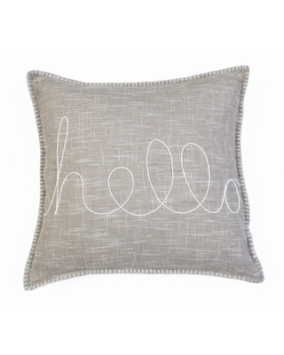 """20""""x20"""" Amy Hello Embroidered Whipstitch Pillow Taupe - Décor Therapy"""