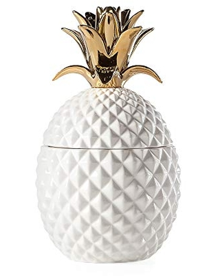 Torre & Tagus Pineapple Ceramic Canister Crown Lid Hawaiian Themed Home Decor Accent, Tall, White/Gold