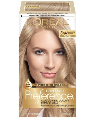 L'Oreal Paris Superior Preference Fade-Defying Shine Permanent Hair Color, 8.5A Champagne Blonde, 1 kit