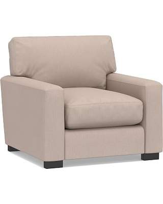 """Turner Square Arm Upholstered Small Armchair 36"""", Down Blend Wrapped Cushions, Performance Heathered Tweed Desert"""