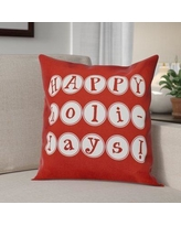"""The Holiday Aisle Happy Holidays Print Throw Pillow HLDY1229 Size: 20"""" H x 20"""" W, Color: Red"""