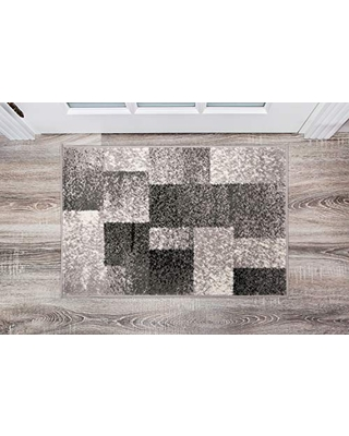 Rugshop Modern Distressed Boxes Area Rug 2' x 3' Gray