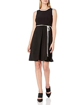 Star Vixen Women's Sleeveless Skater Dress with Contrast Piping and Tie Belt, Black/Ivory, Small