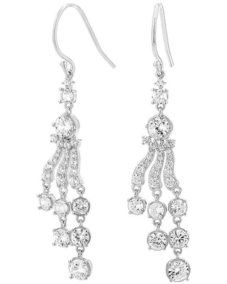 Diamonart 5 3/4 CT. T.W. White Cubic Zirconia Sterling Silver Drop Earrings, One Size , No Color Family