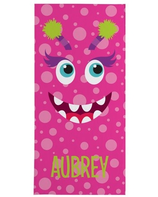 Personalized Beach Monster Beach Towel - Pink