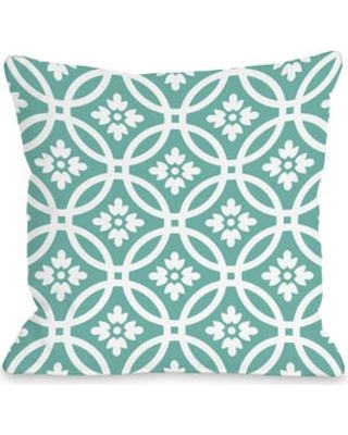 "One Bella Casa Meredith Circles Throw Pillow 7222 Size: 18"" H x 18"" W Color: Turquoise White"