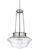 "Possini Euro Schoolhouse 13""W Brushed Steel Pendant"