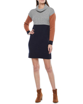 Melonie T Long Sleeve Colorblock Sweater Dress, X-large , Gray