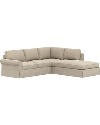 PB Comfort Roll Arm Slipcovered Left 3-Piece Bumper Sectional, Box Edge Down Blend Wrapped Cushions, Sunbrella(R) Performance Chenille Cloud