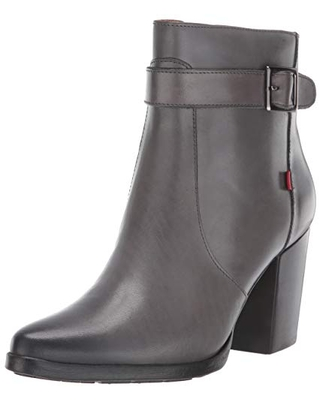 MARC JOSEPH NEW YORK Women's Leather Luxury Bootie with Side Zipper/Buckle Chukka Boot, Grey Brushed Nappa, 10 M US