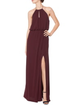 Levkoff Blouson Chiffon A-Line Gown, Size 2 in Wine at Nordstrom