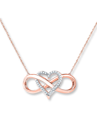 Heart Infinity Necklace 1/10 ct tw Diamonds 10K Rose Gold