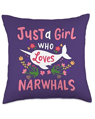 Just a Girl Who Loves Narwhals Narwhal Gift Throw Pillow, 18x18, Multicolor