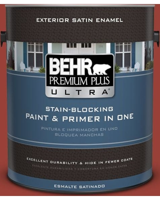 BEHR ULTRA 1 gal. #S-H-190 Antique Red Satin Enamel Exterior Paint and Primer in One