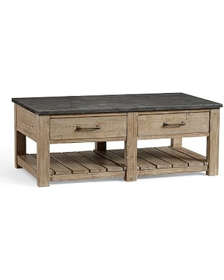 Parker Reclaimed Wood Coffee Table With Bluestone Top