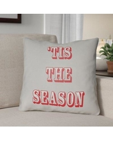 """The Holiday Aisle Tis the Season Indoor/Outdoor Throw Pillow HLDY1187 Size: 20"""" H x 20"""" W x 4"""" D, Color: Gray / Red"""